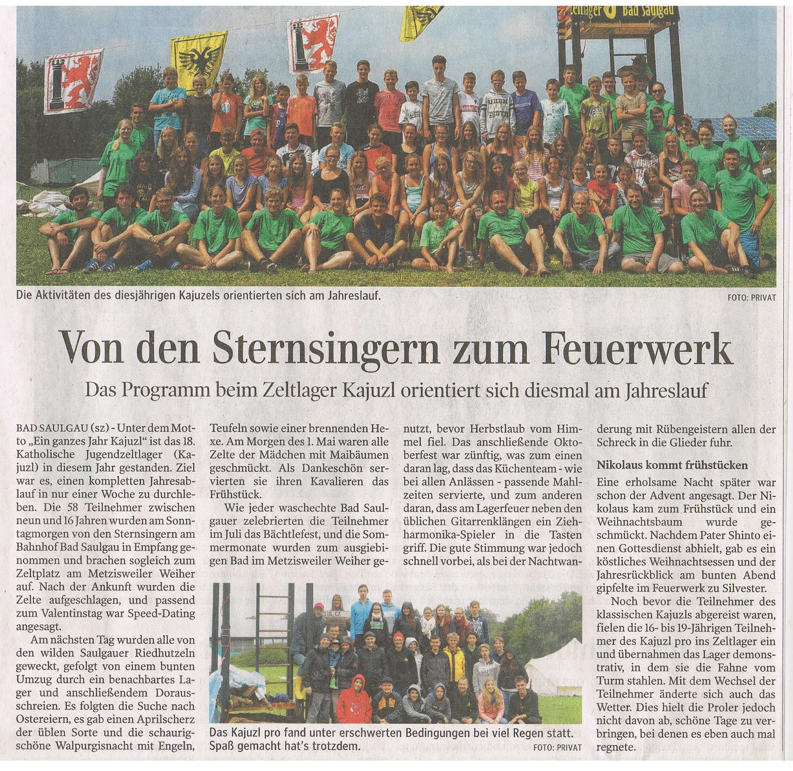 Aus der Schwäbischen Zeitung vom 03. September 2015